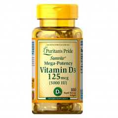 Puritan's Pride Vitamin D3 125 mcg (5000 IU) 100 Softgels